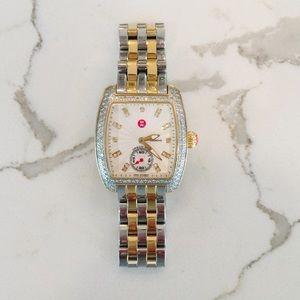 Michele Two-Tone Urban Mini Diamond Watch